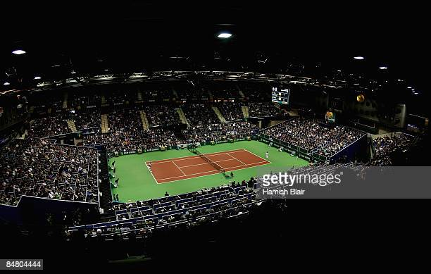 A general view of play during the singles final match betweeen Andy Murray of Great Britain and Rafael Nadal of Spain during day seven of the ABN...
