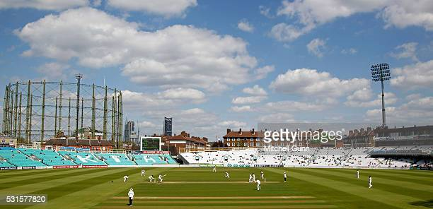 A general view of play during the Specsavers County Championship Division One match between Surrey and Middlesex at the Kia Oval Cricket Ground on...