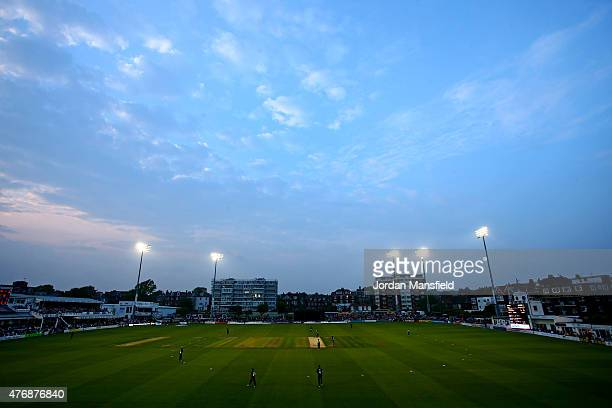 A general view of play during the T20 Blast match between Sussex Sharks and Essex Eagles at BrightonandHoveJobscom County Ground on June 12 2015 in...