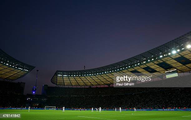 A general view of play during the UEFA Champions League Final between Juventus and FC Barcelona at Olympiastadion on June 6 2015 in Berlin Germany