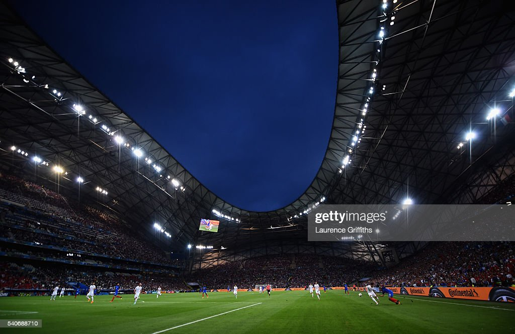 A general view of play during the UEFA Euro 2016 Group A match between France and Albania at Stade Velodrome on June 15 2016 in Marseille France