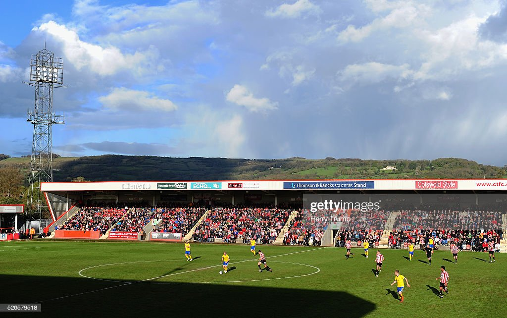 A general view of play during the Vanarama Football Conference match between Cheltenham Town and Lincoln City at the World of Smile Stadium on April 30, 2016 in Cheltenham, England.