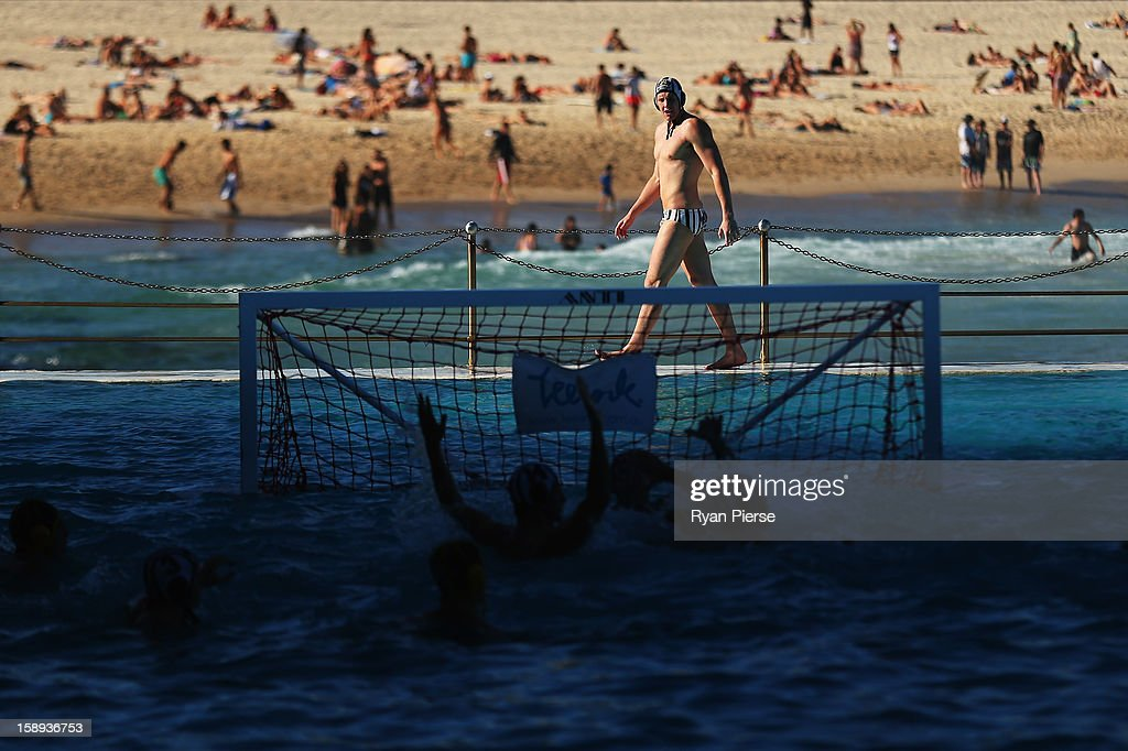 A general view of play during the Water Polo by the Sea match between Sydney University Lions and UNSW Wests at Bondi Icebergs, Bondi Beach on January 4, 2013 in Sydney, Australia.
