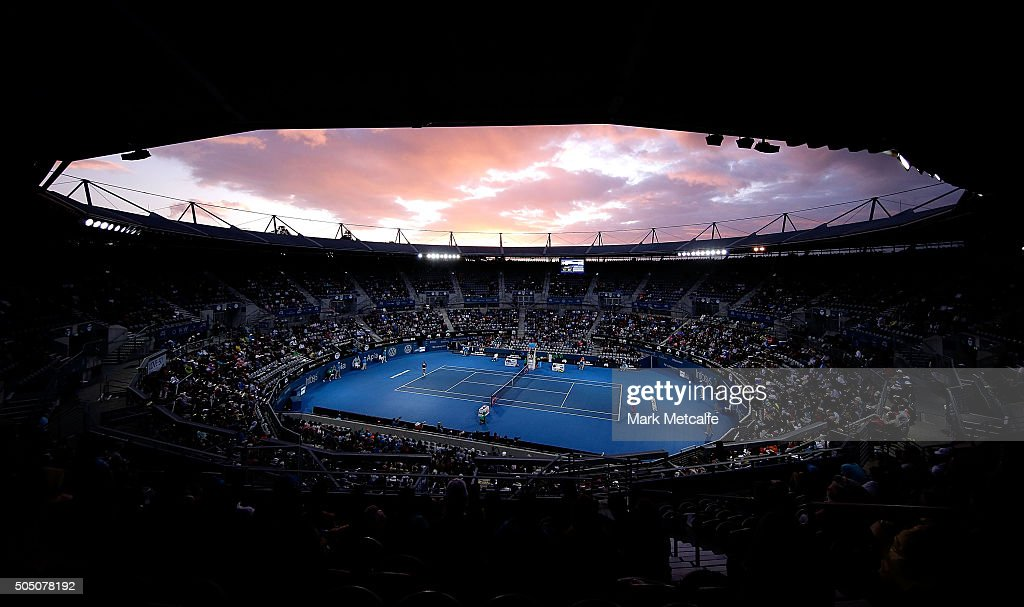 A general view of play during the Women's final between Svetlana Kuznetsova of Russia and Monica Puig of Puerto Rico during day six of the 2016 Sydney International at Sydney Olympic Park Tennis Centre on January 15, 2016 in Sydney, Australia.