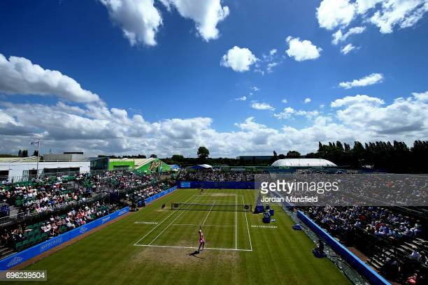 A general view of play during the Women's Singles second round match between Johanna Konta of Great Britain and Yanina Wickmayer of Belgium during...