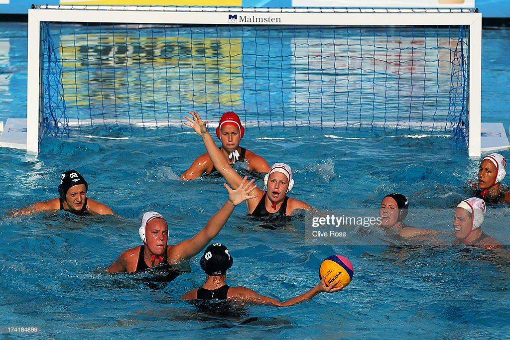 A general view of play during the Women's Water Polo first preliminary round match between Canada and Great Britain during Day Two of the 15th FINA World Championships at Piscines Bernat Picornell on July 21, 2013 in Barcelona, Spain.