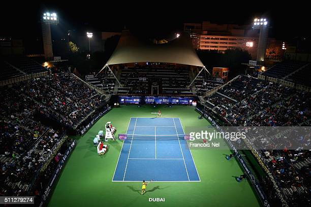 A general view of play during their women's semi final match of the WTA Dubai Duty Free Tennis Championship at the Dubai Duty Free Stadium on...