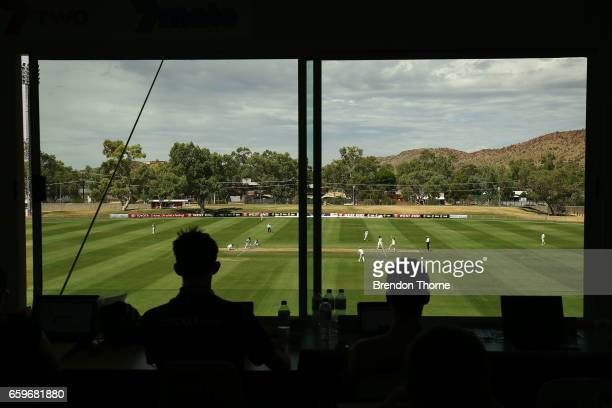 A general view of play from inside the media centre during the Sheffield Shield final between Victoria and South Australia on March 29 2017 in Alice...