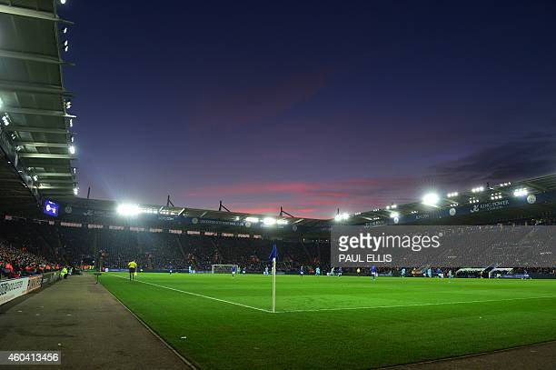 General view of play from pitchside at the King Power Stadium during the English Premier League football match between Leicester City and Manchester...