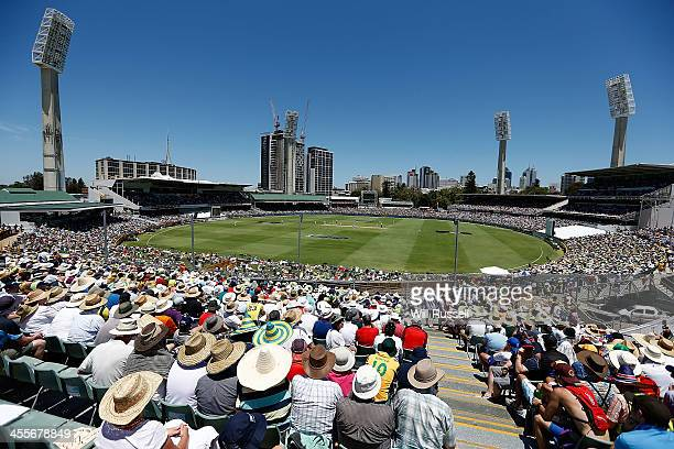 A general view of play from the Eastern stand during day one of the Third Ashes Test Match between Australia and England at WACA on December 13 2013...