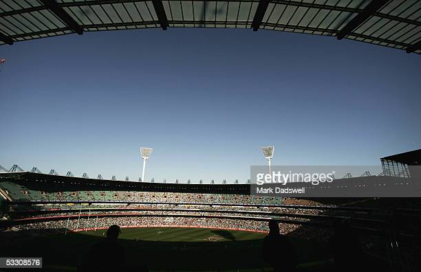 A general view of play from the new MCC Members stand during the AFL Round 18 match between the Collingwood Magpies and the Fremantle Dockers at the...