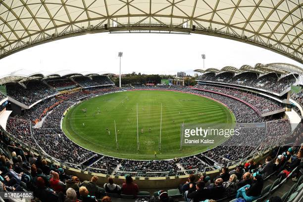 A general view of play from the Riverbank stand during the round 17 AFL match between the Port Adelaide Power and the North Melbourne Kangaroos at...