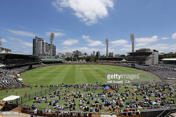 A general view of play from the scoreboard during the Victoria Bitter One Day International Series match between Australia and India at WACA on...