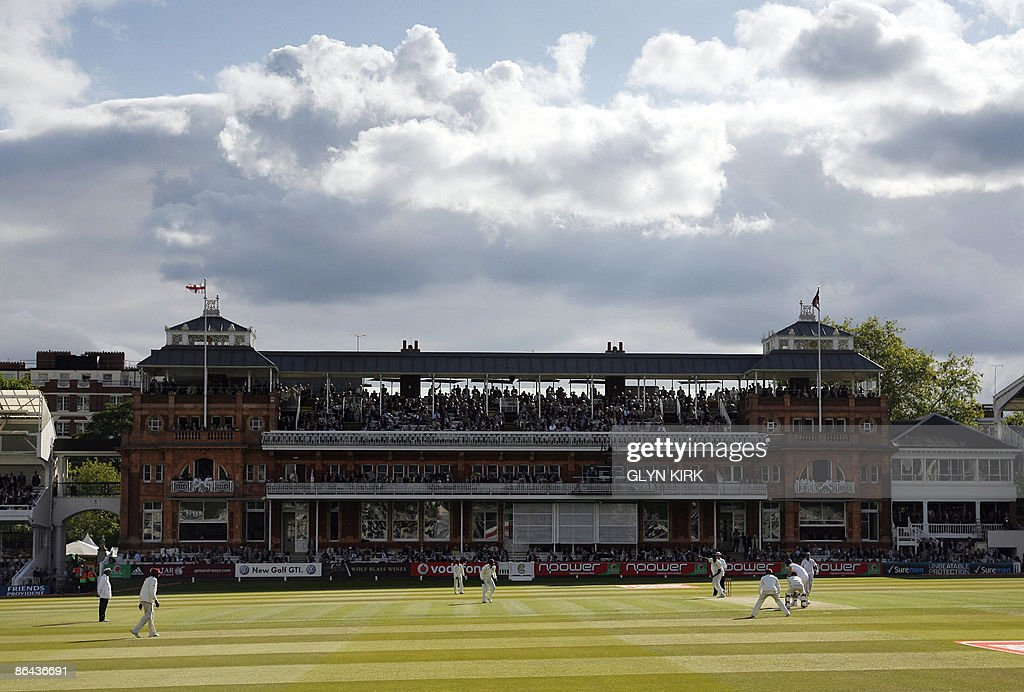 General view of play in front of the pavilion during the first day of the first power test between England and the West Indies at Lords cricket...