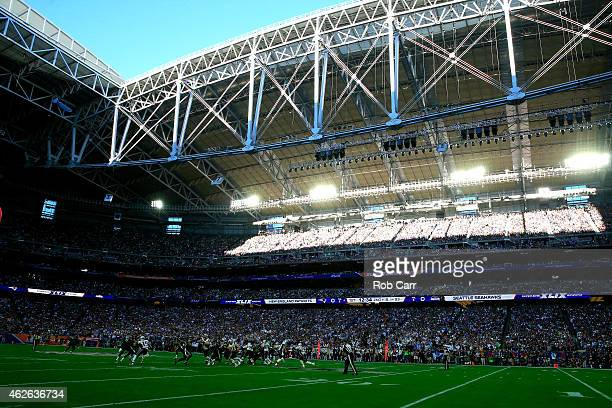 A general view of play in the first quarter during Super Bowl XLIX between Seattle Seahawks and New England Patriots at University of Phoenix Stadium...