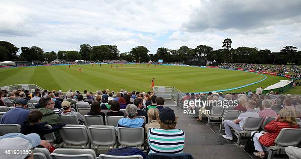 General view of play in the ICC World Twenty20 Qualifer between Ireland and the Netherlands at Malahide cricket club north of Dublin on July 25 2015...