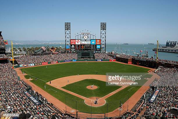 A general view of play in the sixth inning between the Oakland Athletics and San Francisco Giants at ATT Park on July 26 2015 in San Francisco...