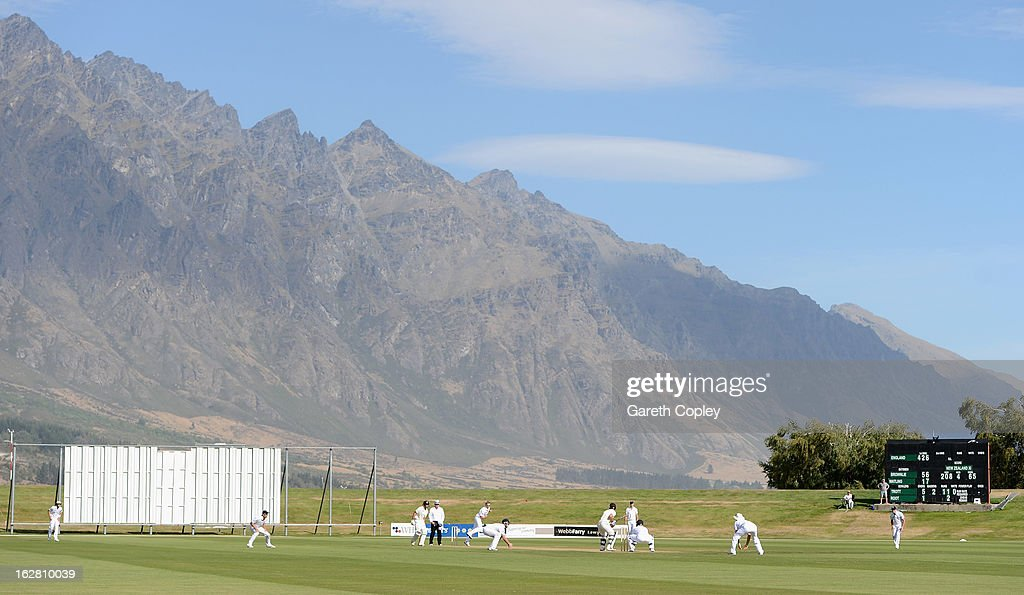 General view of play infront of the Remarkables mountain range during day two of the International tour match between the New Zealand XI and England...