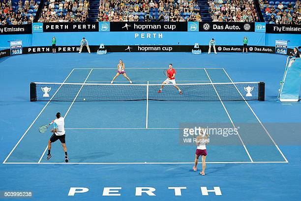 A general view of play of the mixed doubles match between Daria Gavrilova and Nick Krygios of Australia Green and Carline Garcia and Kenny De...