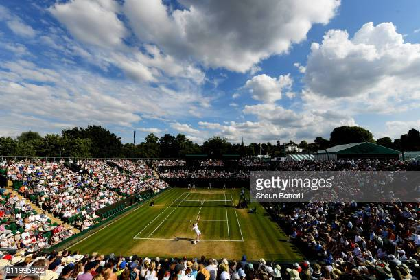 A general view of play on court 2 during the Gentlemen's Singles fourth round match between Milos Raonic of Canada and Alexander Zverev of Germany on...