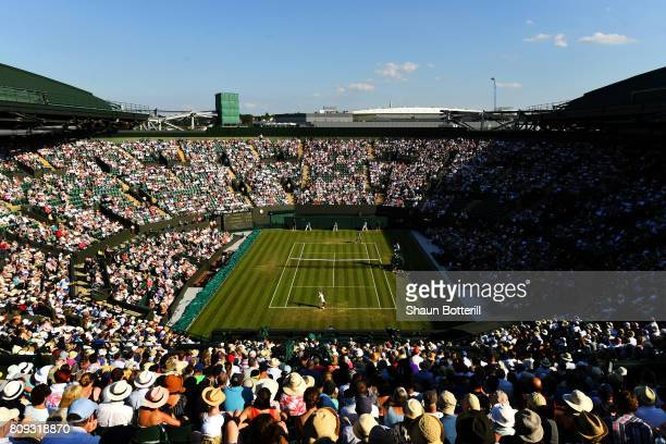 A general view of play on court number one during the Ladies Singles second round match between Qiang Wang of China and Venus Williams of The United...