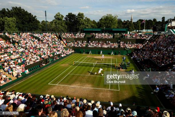 A general view of play on court number two on day five of the Wimbledon Lawn Tennis Championships at the All England Lawn Tennis and Croquet Club on...
