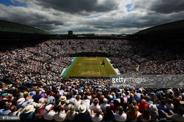 A general view of play on court one during the Gentlemen's Singles quarter final match between Gilles Muller of Luxembourg and Marin Cilic of Croatia...