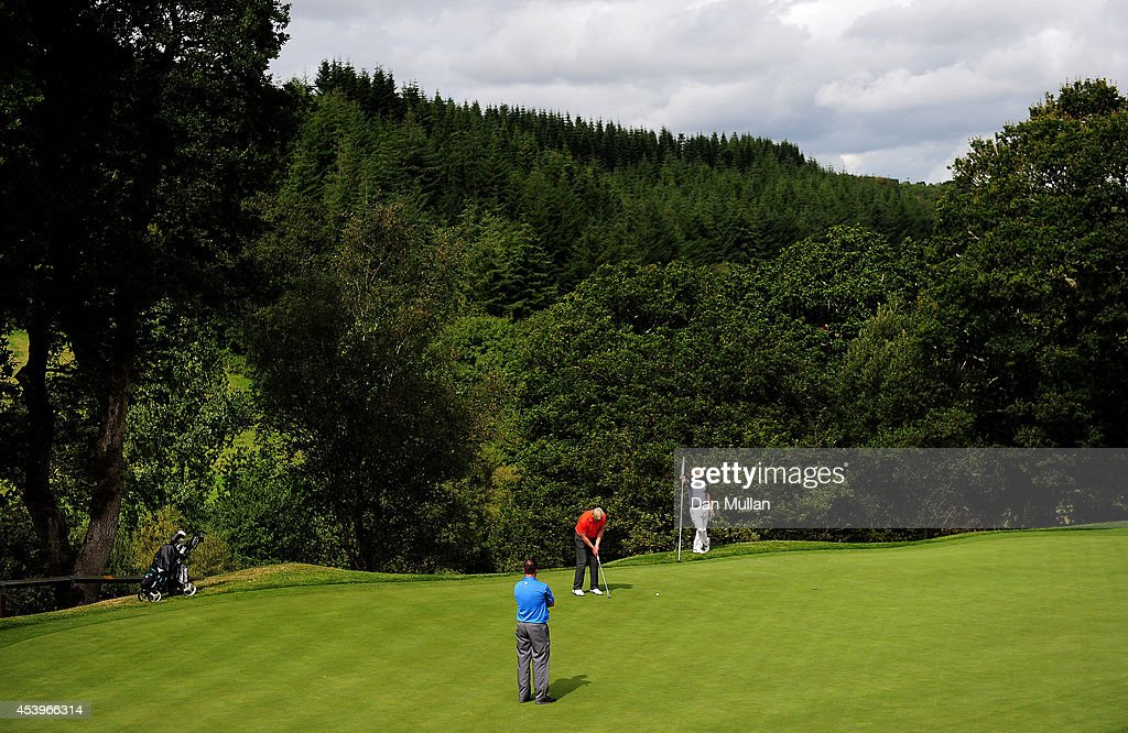 A general view of play on on the 4th hole during day three of the Golfbreakscom PGA Fourball Championship at St Mellion International Resort on...