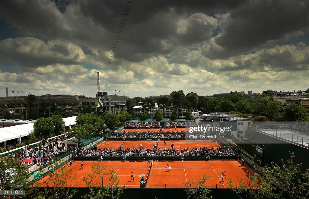 A general view of play on the outside courts during day four of the 2016 French Open at Roland Garros on May 25, 2016 in Paris, France.