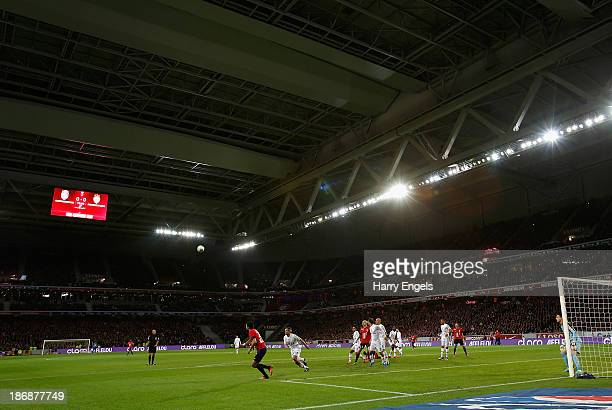 A general view of play showing the stadium roof closed during the French Ligue 1 match between OSC Lille and AS Monaco at the Grand Stade Metropole...