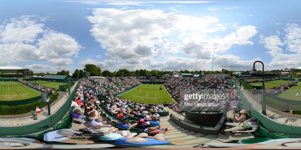 A general view of play taking place across the outside courts on day two of the Wimbledon Lawn Tennis Championships at the All England Lawn Tennis and Croquet Club on June 25, 2013 in London, England.