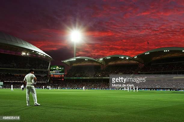 A general view of play under lights during day one of the Third Test match between Australia and New Zealand at Adelaide Oval on November 27 2015 in...