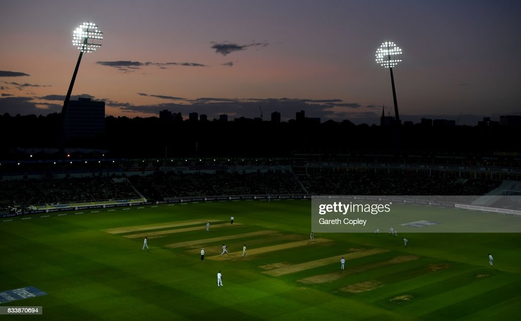 General view of play under the floodlights during the 1st Investec Test match between England and West Indies at Edgbaston on August 17, 2017 in Birmingham, England.