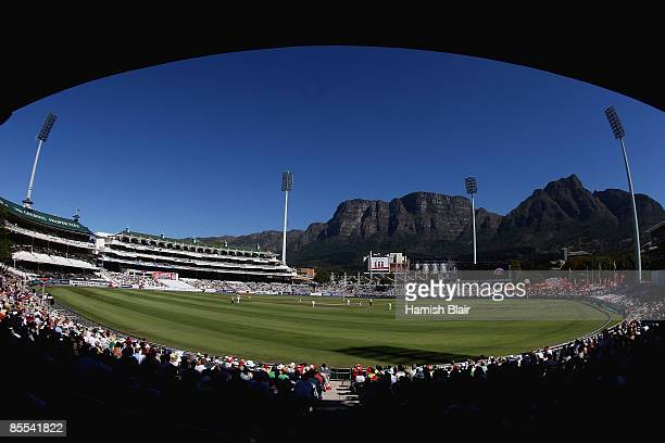 A general view of play with Table Mountain in the background during day three of the Third Test between South Africa and Australia played at Newlands...
