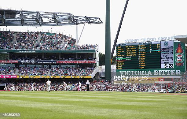 A general view of play with the scoreboard showing England at 5 for 23 during day two of the Fifth Ashes Test match between Australia and England at...