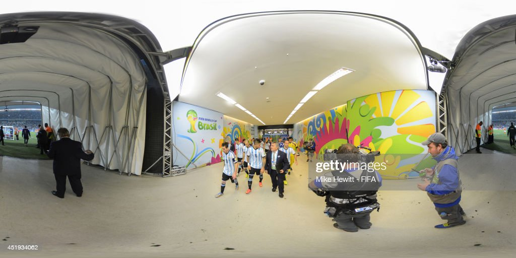 A general view of players in the tunnel during the 2014 FIFA World Cup Brazil semi-final match between Netherlands v Argentina at Arena de Sao Paulo on July 9, 2014 in Sao Paulo, Brazil.