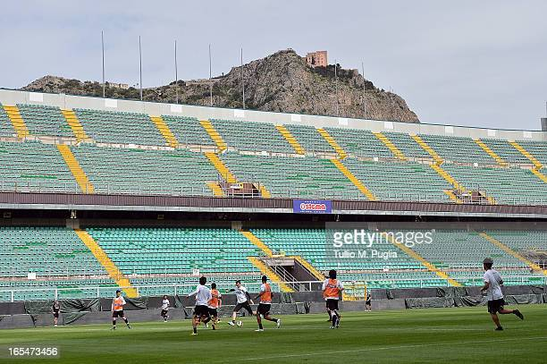A general view of players of Palermo in action during a Palermo training session at Stadio Renzo Barbera on April 4 2013 in Palermo Italy