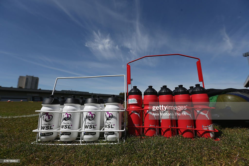 General view of players water bottles prior to the WSL match between Arsenal Ladies and Birmingham City Ladies at Meadow Park on May 1, 2016 in Borehamwood, England.