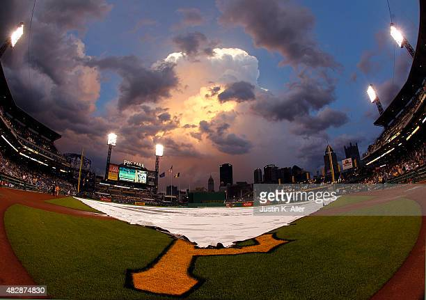 A general view of PNC Park during a rain delay during the game between the Chicago Cubs and the Pittsburgh Pirates at PNC Park on August 3 2015 in...