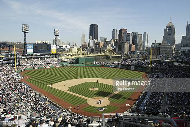 A general view of PNC Park during the home opener between the Los Angeles Dodgers and the Pittsburgh Pirates on April 10 2006 at PNC Park in...