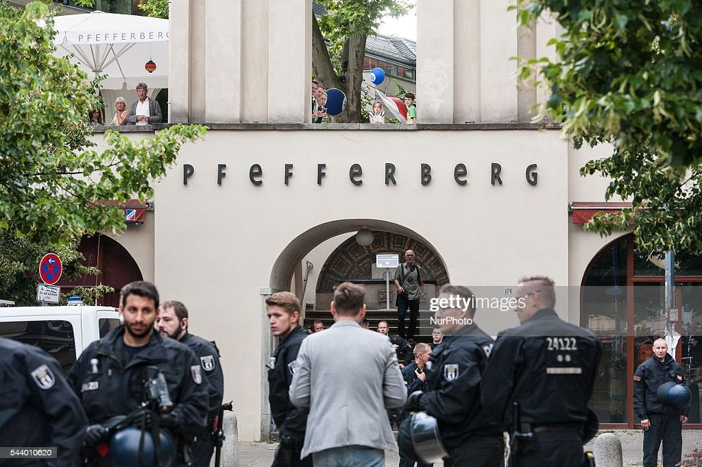 A general view of police officers checking the area during the CDU summer festival held in Berlin, Germany, on 30 June 2016.