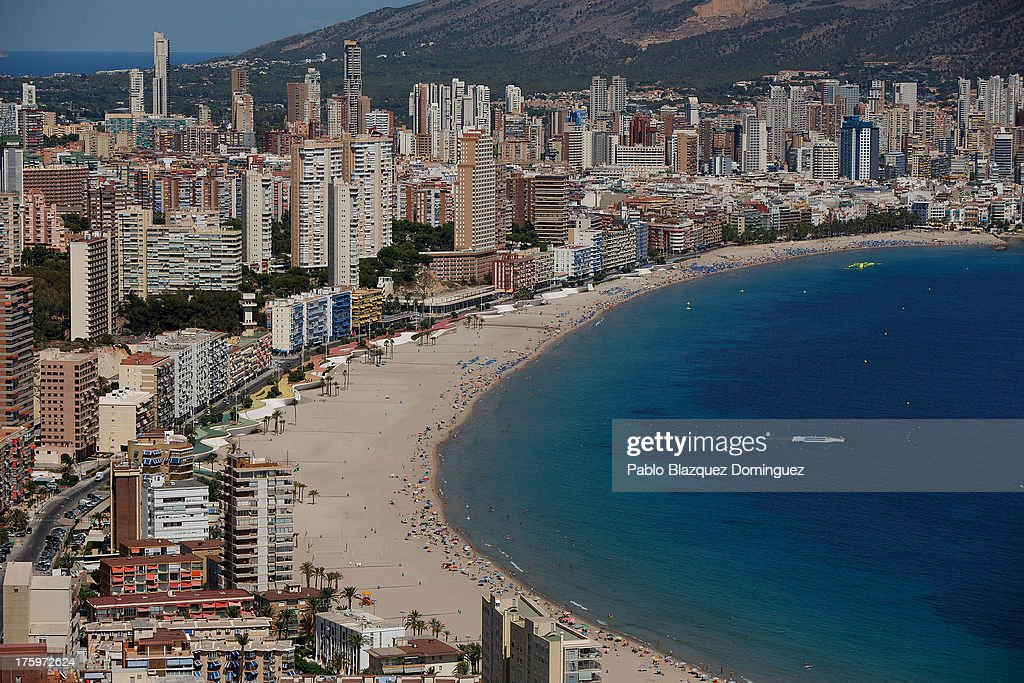 A general view of Poniente beach on August 9, 2013 in Benidorm, Spain. Benidorm is one of Europe's top package holiday destinations and one of Spain's busiest tourist destinations. The Costa Blanca hotspot of Benidorm is calculated to have a population of around 72,000, which is estimated to rise to more than 300,000, during the summer months as the tourists and visitors flock to its popular beaches.