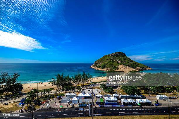 General view of Pontal beach during the Caixa Brasil Race Walk Cup Aquece Rio Test Event for the Rio 2016 Olympics on February 28 2016 in Rio de...