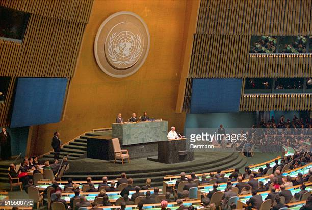 General view of Pope Paul VI addressing the UN General Assembly during his historic visit to the US October 4th