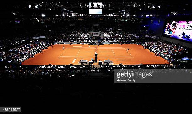 A general view of Porsche Arena while Maria Sharapova of Russia plays her first round match against Lucie Safarova of the Czech Republic during day 2...