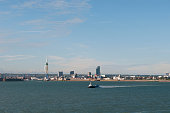 A general view of Portsmouth harbour and the Spinnaker Tower from the Wightlink ferry traveling across the Solent from the Isle of Wight on July 23...