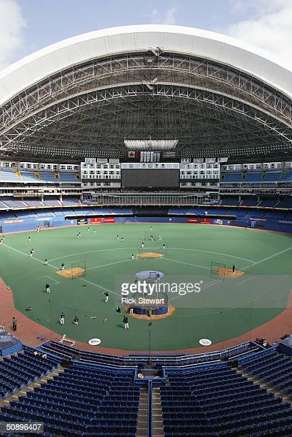 General view of practice for the game between the Boston Red Sox and the Toronto Blue Jays at the Skydome on May 16 2004 in Toronto Canada The Blue...
