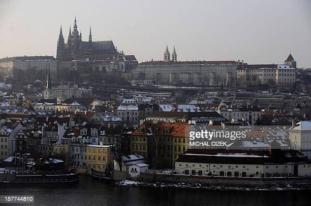 A general view of Prague's river bank and Prague Castle in the background on February 16 2010 Prague Castle is one of the biggest castles in the...