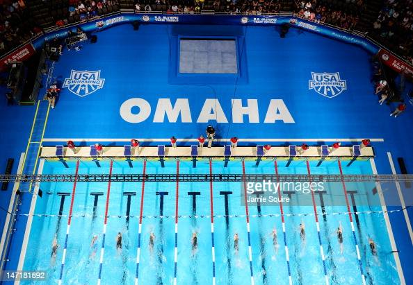 A general view of preliminary heat 11 of the Women's 100 m Backstroke during Day Two of the 2012 US Olympic Swimming Team Trials at CenturyLink...
