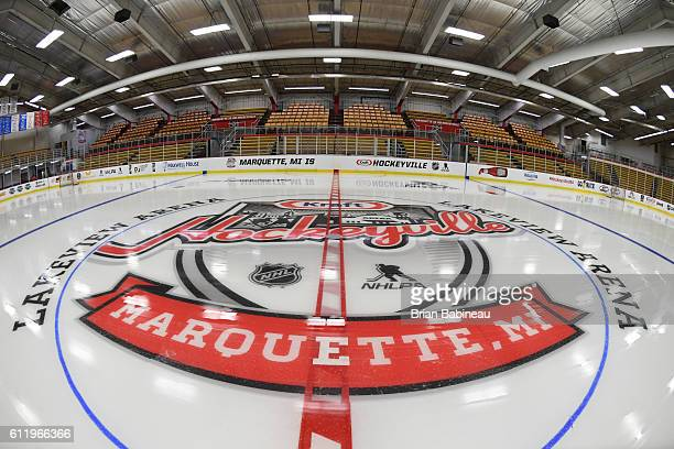 A general view of preparations for the Kraft Hockeyville event at the Lakeview Arena on October 2 2016 in Marquette Michigan